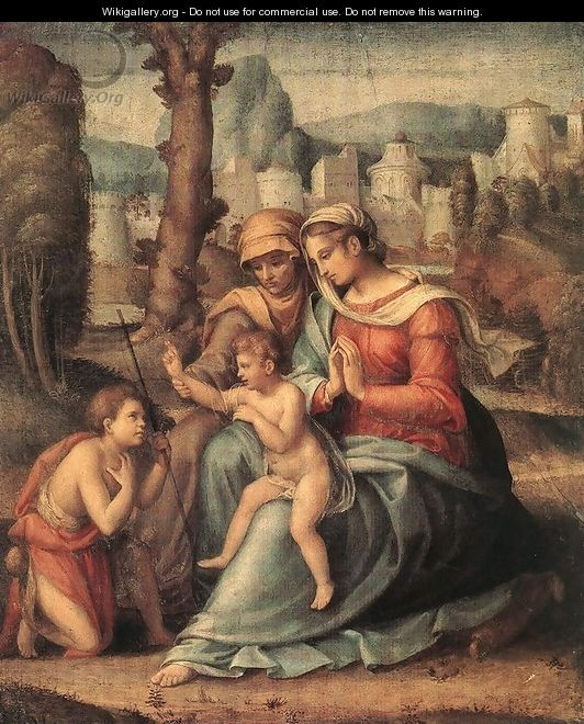 Madonna with Child, St Elisabeth and the Infant St John the Baptist 1530s - Francesco Ubertini Bacchiacca II