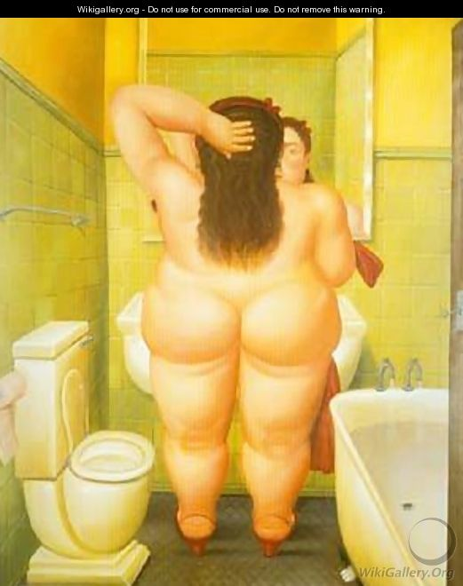 The Bathroom 1989 - Fernando Botero