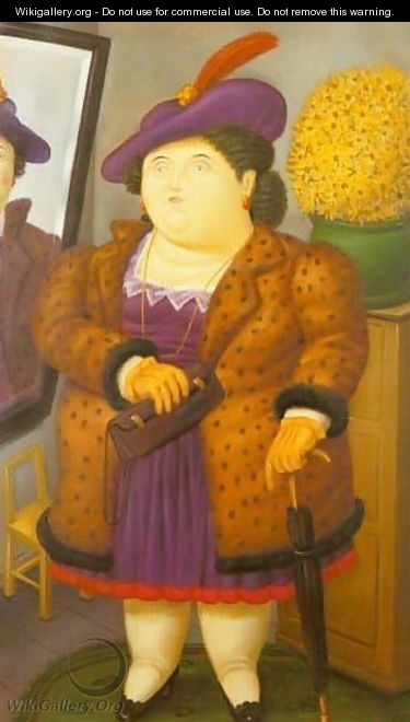 Woman With a Fur Coat 1990 - Fernando Botero
