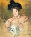 Woman In Raspberry Costume Holding A Dog - Mary Cassatt