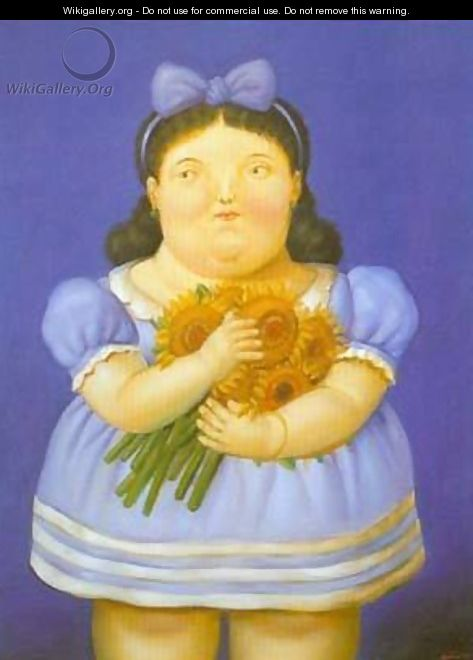 Girl with flowers 1995 - Fernando Botero