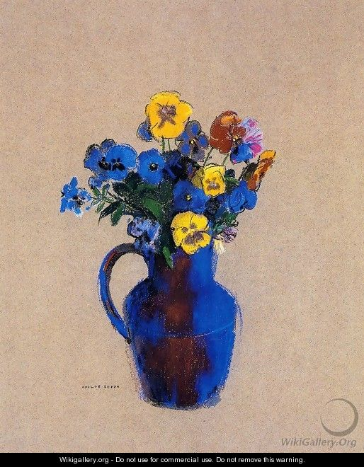 Vase Of Flowers Pansies - Odilon Redon