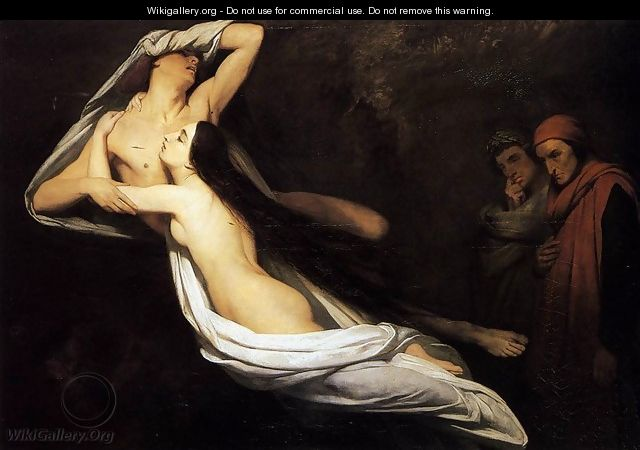 The Ghosts of Paolo and Francesca Appear to Dante and Virgil 1835 - Ary Scheffer
