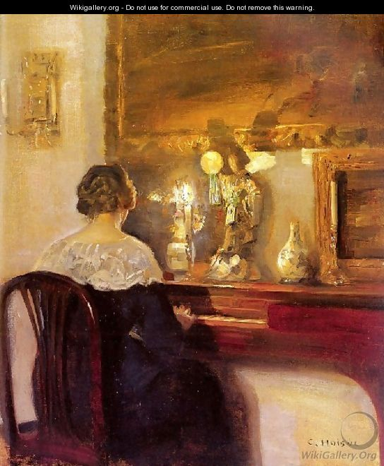 A Lady Playing The Spinet - Carl Wilhelm Holsoe