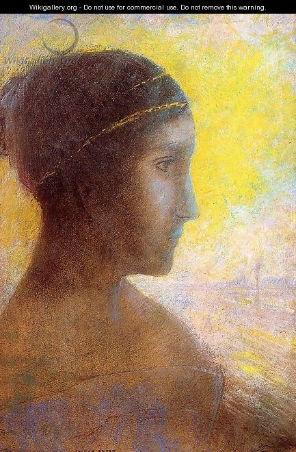 Head Of A Young Woman In Profile - Odilon Redon