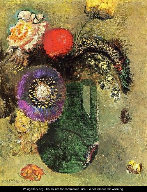 Flowers In Green Vase With Handles - Odilon Redon