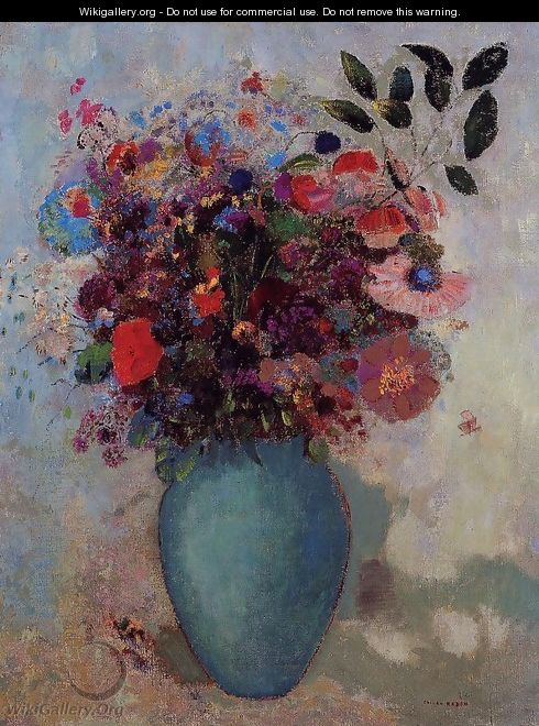 Flowers In A Turquoise Vase - Odilon Redon