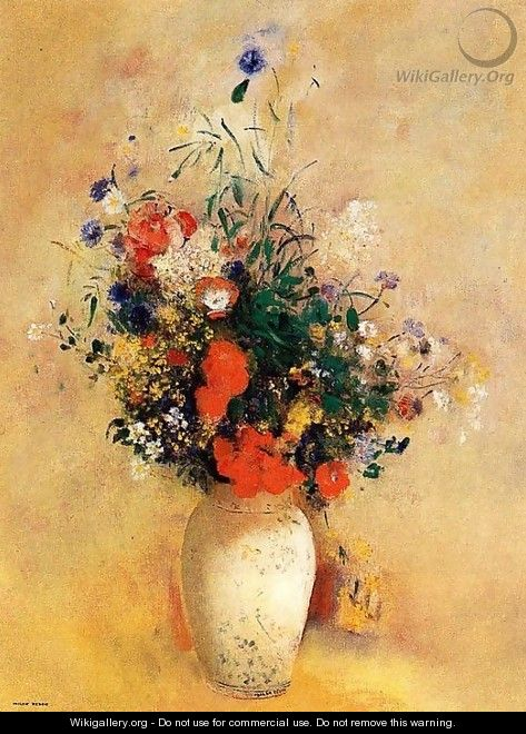 Flowers In A Chinese Base - Odilon Redon