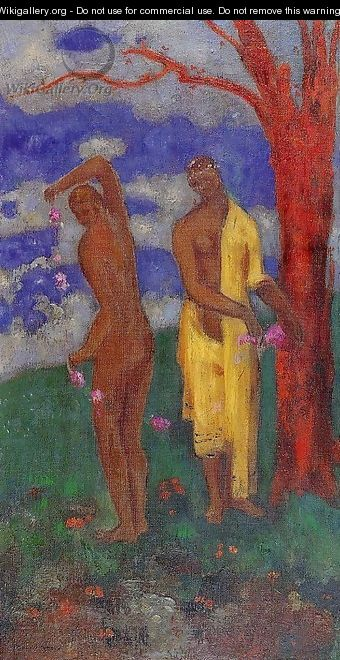 Two Women Under A Red Tree - Odilon Redon