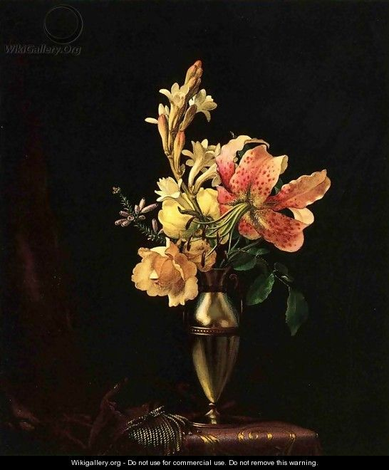 Still Life With Flowers In A Silver Vase - Martin Johnson Heade