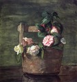 Camellias And Roses In Japanese Vase Of Earthenware With Crackle - John La Farge