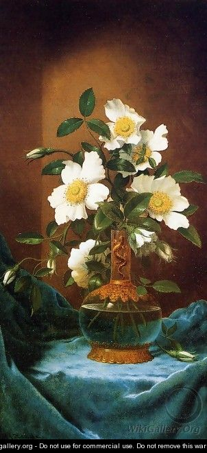 White Cherokee Roses In A Salamander Vase Martin Johnson Heade Wikigallery Org The Largest
