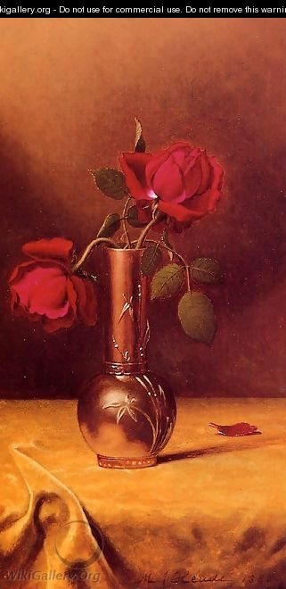 Two Red Roses In A Bronze Vase - Martin Johnson Heade