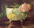 Roses In Old Chinese Bowl - John La Farge