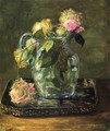 Roses In Blue Crackle Glass Pitcher - John La Farge