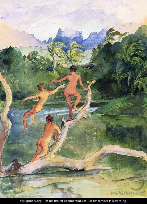 Girls Bathing On The Shore Near Papeete In An Outlet Of The River Fautaua The Diadem Or Crown Mountain In Distance Northwest Wind Blowing Later Afternoon February - John La Farge