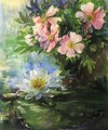 Wild Roses And Water Lily Study Of Sunlight - John La Farge