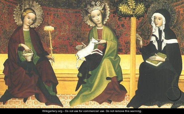 St. Martha, Agnes and Clara - Unknown Painter
