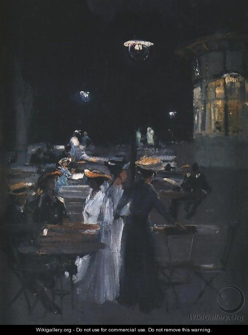 Parisian Cafe at Night - Ludwik de Laveaux