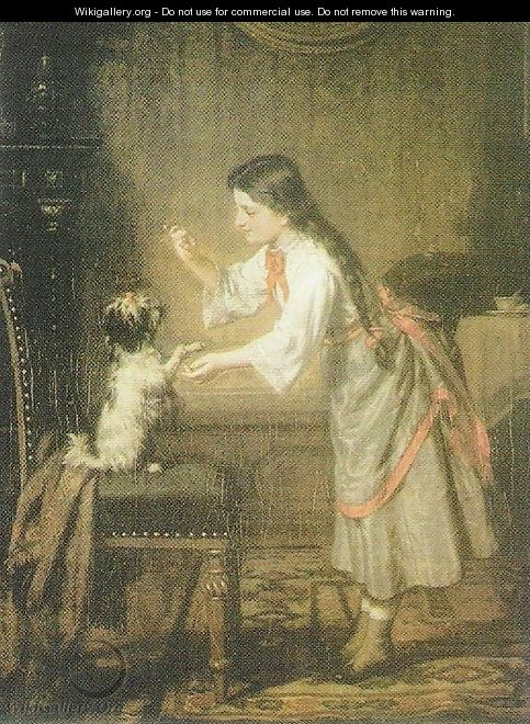 Girl with a Dog - Leopold Loeffler