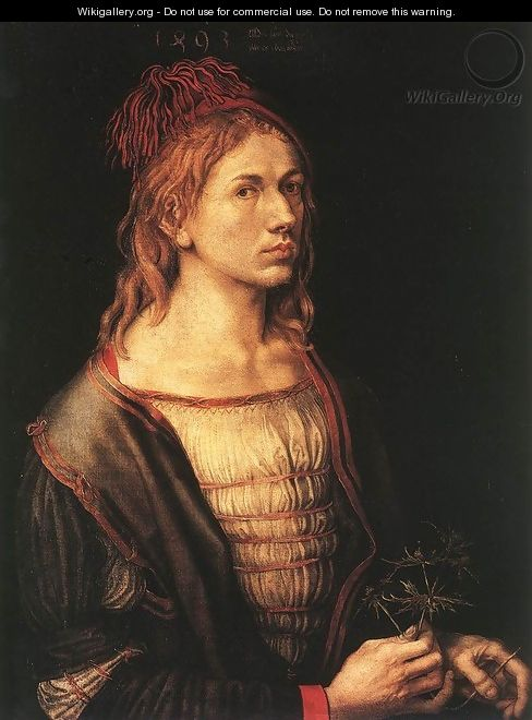 Self-Portrait with Eryngium Flower - Albrecht Durer