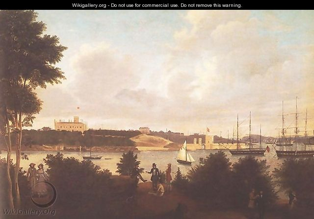 Panorama of Sydney Harbour with Government House and Fort Macquarie from Mrs Macquarie