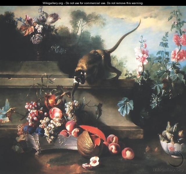 Still Life with a Monkey, Fruit and Flowers - Jean-Baptiste Oudry