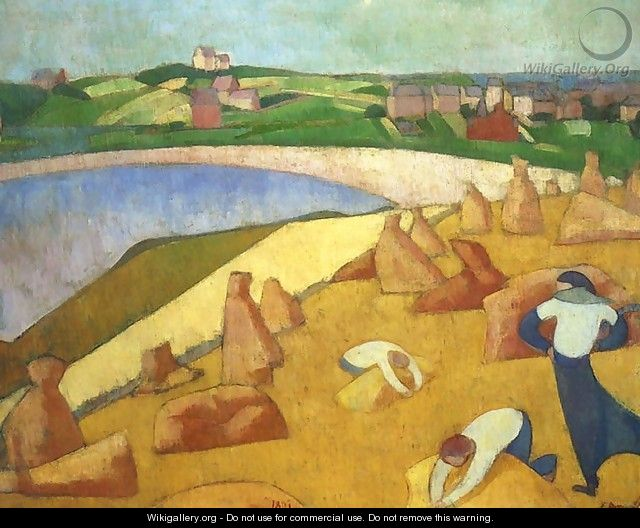 Harvest by the Sea - Emile Bernard