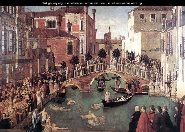 Miracle of the True Cross near San Lorenzo Bridge (Miracolo della croce) - Gentile Bellini