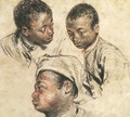 Three Studies of the Head of a Young Negro - Jean-Antoine Watteau