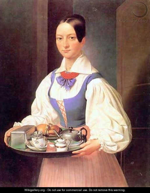 Girl with Breakfast on a Tray - Marcin Jablonski