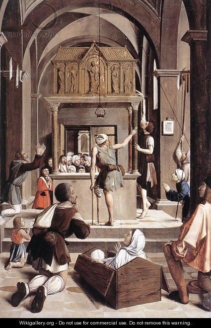Pilgrims at the Tomb of St Sebastian 1497 - Josse Lieferinxe