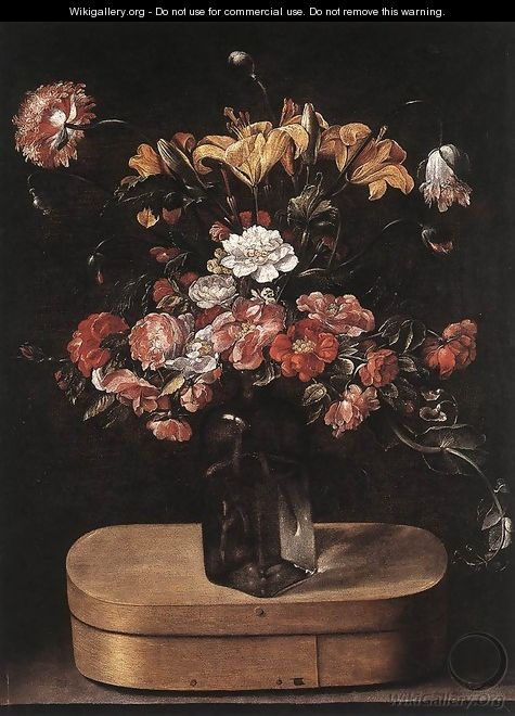 Bouquet on Wooden Box c. 1640 - Jacques Linard