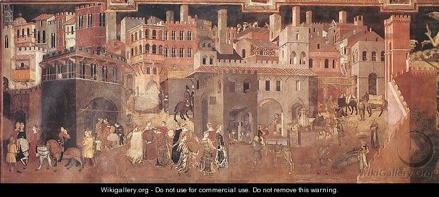 Effects of Good Government on the City Life (detail-1) 1338-40 - Ambrogio Lorenzetti