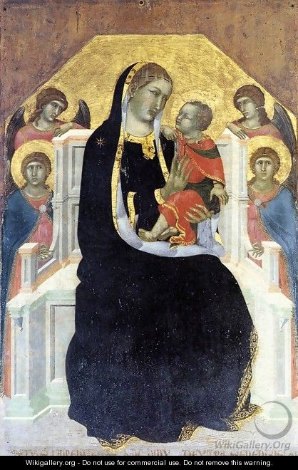 Virgin Enthroned with Child and Four Angels c. 1320 - Pietro Lorenzetti