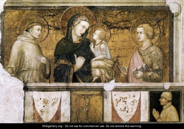 Madonna with St Francis and St John the Evangelist c. 1320 - Pietro Lorenzetti