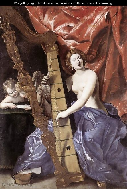 Venus Playing the Harp (Allegory of Music) 1630-34 - Giovanni Lanfranco