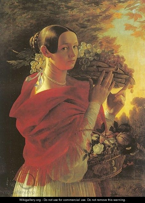 Young Woman with Basket 1835 - Ivan Khrutsky