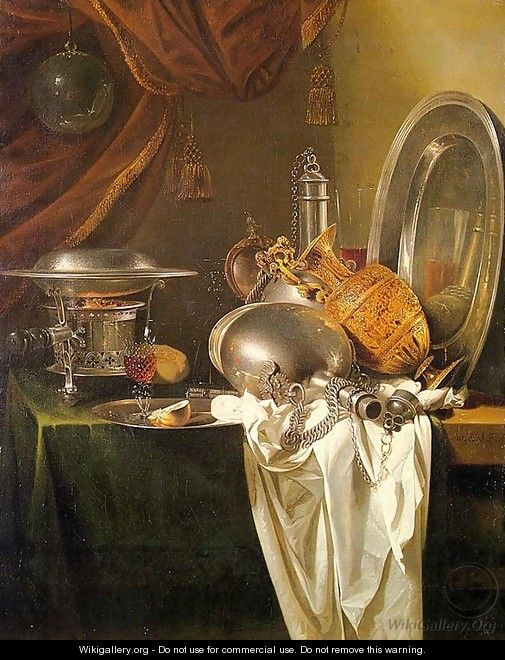 Still Life with Chafing Dish, Pewter, Gold, Silver, and Glassware - Willem Kalf