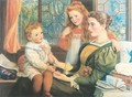 Mrs. Norman Hill and Children 1897 - Arthur Hughes