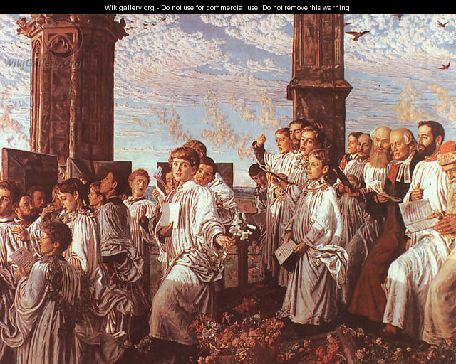May Morning on Magdalen Tower 1890 - William Holman Hunt