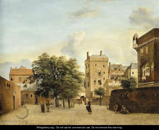View of a Small Town Square c. 1660 - Jan Van Der Heyden