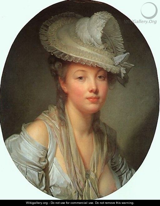 Young Woman in a White Hat 1780 - Jean Baptiste Greuze