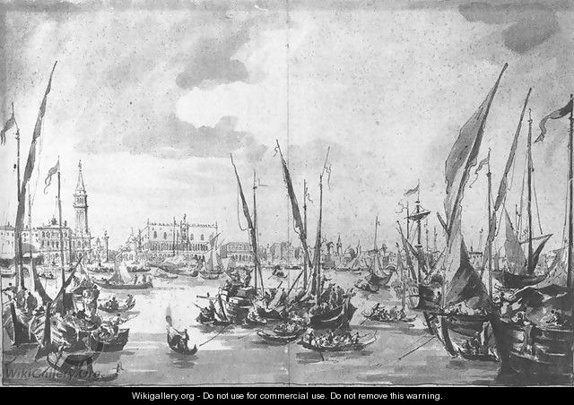 The Molo and the Riva degli Schiavoni from the Bacino di San Marco c. 1760 - Francesco Guardi