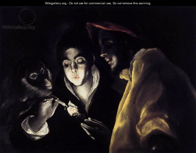 An Allegory with a Boy Lighting a Candle in the Company of an Ape and a Fool (Fábula) 1589-92 - El Greco (Domenikos Theotokopoulos)