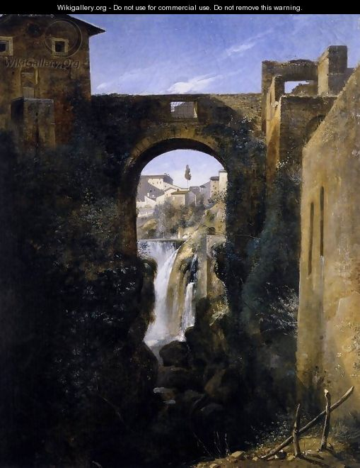 The San Rocco Bridge and the Grand Waterfall at Tivoli c. 1806 - Francois-Marius Granet