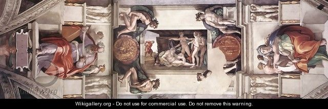 The first bay of the ceiling 1508-12 - Michelangelo Buonarroti