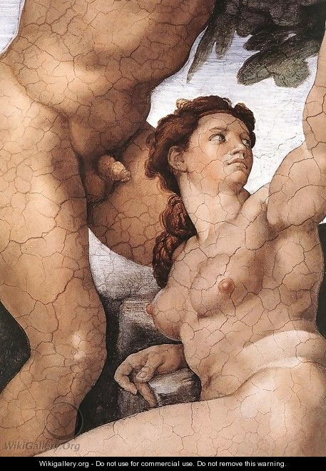 The Fall and Expulsion from Garden of Eden (detail-4) 1509-10 - Michelangelo Buonarroti
