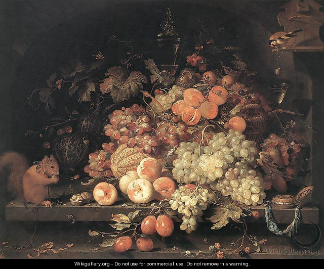 Fruit Still-Life with Squirrel and Goldfinch - Abraham Mignon