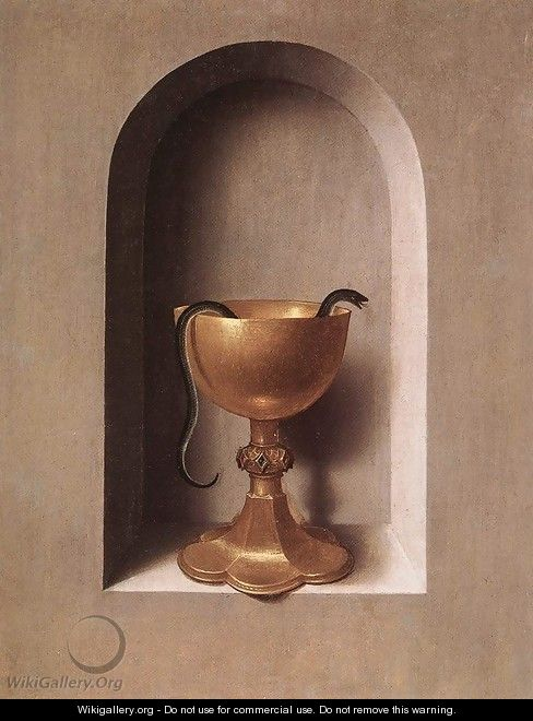 St John and Veronica Diptych (reverse of the right wing) c. 1483 - Hans Memling